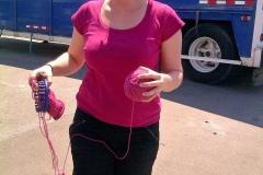 Trixie knitting - yay Nicole!